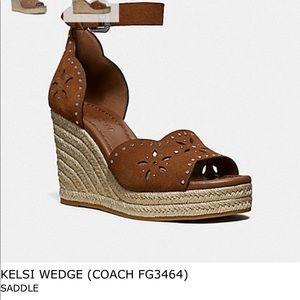 Coach Kelsi suede wedge sandals
